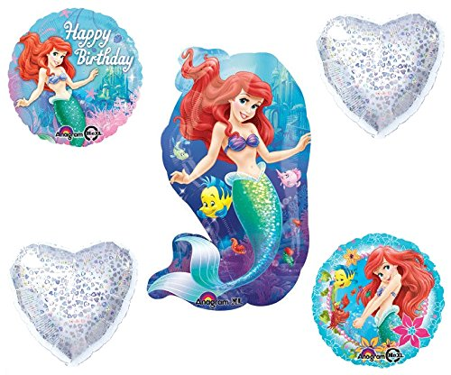 [Little Mermaid Balloons - Ariel Balloon Bouquet - 5 Balloons] (Costume Party Ideas Movie Characters)