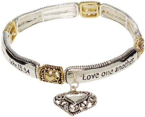 Bracelet - Christian Silver Tone Stretch Bracelet - John (Single Heart Bracelet)