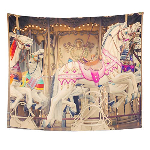 - Semtomn Tapestry Vintage Yellow Nostalgia French Carousel Horses Circus Wheel Ferris Home Decor Wall Hanging for Living Room Bedroom Dorm 60x80 Inches