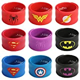 Ecparty Superhero Slap Bracelet for Kids Boys & Girls Birthday Party Supplies Favors (9 pack) (Mixhero) (Mix Superheroes)