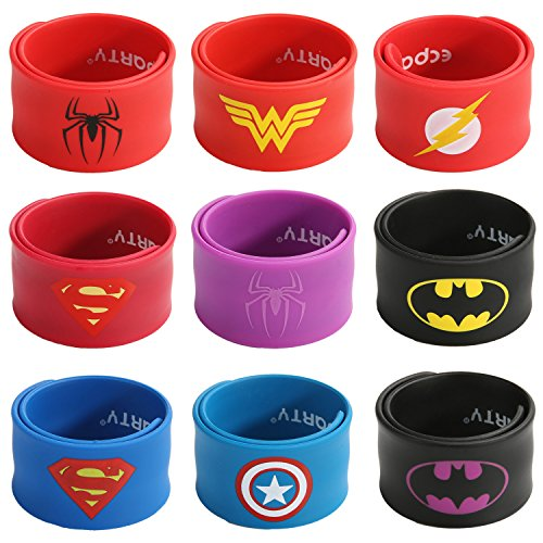 Ecparty Superhero Slap Bracelet for Kids Boys & Girls Birthday Party Supplies Favors (9 Pack) (62651) -