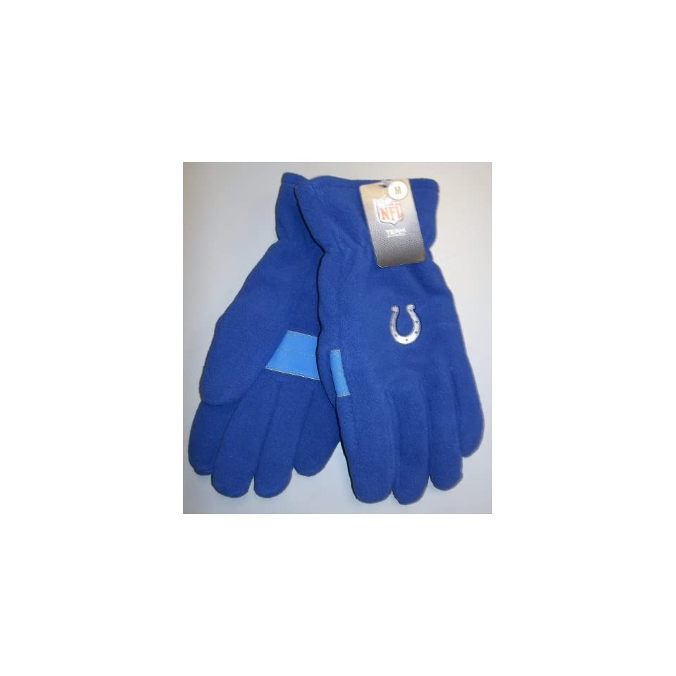 NFL Indianapolis Colts Royal Blue Embroidered Logo Fleece Gloves Size Medium