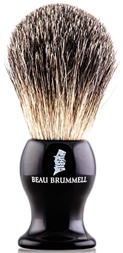 - Men's Pure Badger Shaving Brush | Perfect Shave by Beau Brummell | Ergonomic Waterproof Black Resin Handle | 100% Badger Brush with Refined Materials | For Safety, Straight, Shaving and Double Razors