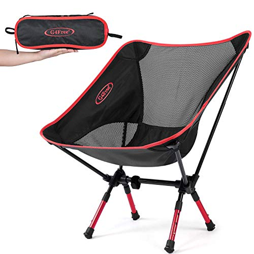 G4Free Portable Camping Chairs Adjustable Height Folding Lightweight Outdoor Backpacking Chair for Sports Picnic Beach Hiking Fishing, Low Back Camp Chair (Adjustable Red) Blue Water Adjustable Height Positive