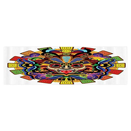 (UHOO2018 Fish Tank Backdrop Static Cling Aztec Warrior Mask Ceremy Style Symbolic Manuscript Aquarium Background Sticker Wallpaper 35.4