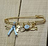 """MIZZE Made for Luck Golden Baby Boy 2.5"""" Safety Pin Brooch with Multiple Protection Charms in Baby Blue"""
