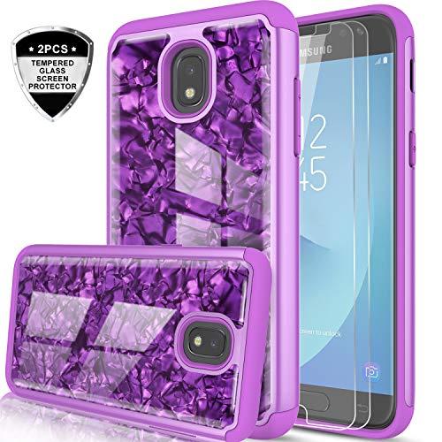 Stars Case Design Protector (Samsung Galaxy J3 Case 2018,J3 Orbit/J3 Star/j3 achieve/j3v 3rd gen/express prime 3 Case w/Tempered Glass Screen Protector [2 Pack]for Girls,LeYi Glitter Marble Case for Samsung Amp Prime 3 BKW Purple)