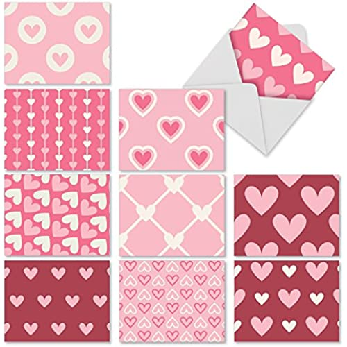 M3058 Heartfelt: 10 Assorted Blank All-Occasion Note Cards Feature Hearts in Differing Patterns, w/White Envelopes. Sales
