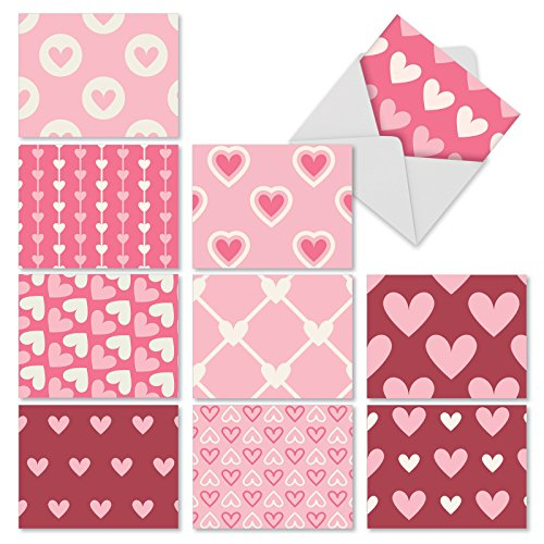 M3058 Heartfelt: 10 Assorted Blank All-Occasion Note Cards Feature Hearts in Differing Patterns, w/White Envelopes - Folded Set Heart Note Card