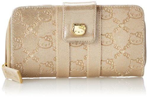 Hello Kitty Glitter Gold Patent Embossed Wallet,Multi,One Size