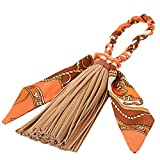 ZOONAI Women Tassel Silk Bowknot Purse Pendant Handbag Bag Hanging Decorations (Coffee)