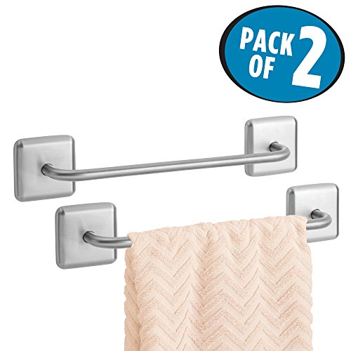 mDesign Bathroom Strong Adhesive Metal Towel Bar - Storage Organizer Drying Rack - Holder for Hanging Washcloths, Hand Towels in Powder/Guest Bathrooms, Showers - Pack of 2, Brushed Stainless Steel