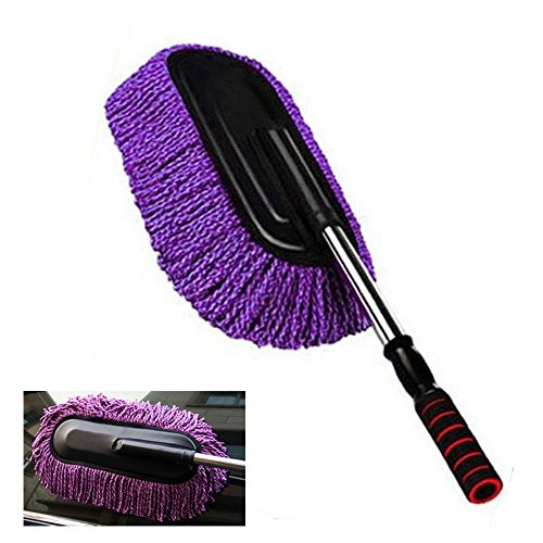 KOBWA Car Duster, Microfiber Exterior Interior Wash Cleaner Brush with Long Retractable/Soft/Non-slip/Handle to Trap Dust and Pollen for Car Bike Boats or Home, (with Zippered Case)