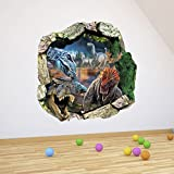 Ghaif 3d wall poster-dinosaur photo frame creative personality living room children's room is decorated to the wallpaper posters bedroom toilet wrap-dong and Wang Tai 5050cm