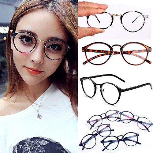 Amrka Retro Round Nerd Glasses for Women Men Vintage Eyeglasses with Round Clear Lens 56mm Unisex (Coloured glaze flower) by Amrka (Image #1)