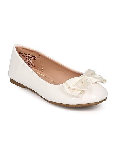 6b7de80db53cd Amazon.com   Patent Round Toe Slip On Bow Ballet Flat (Toddler ...