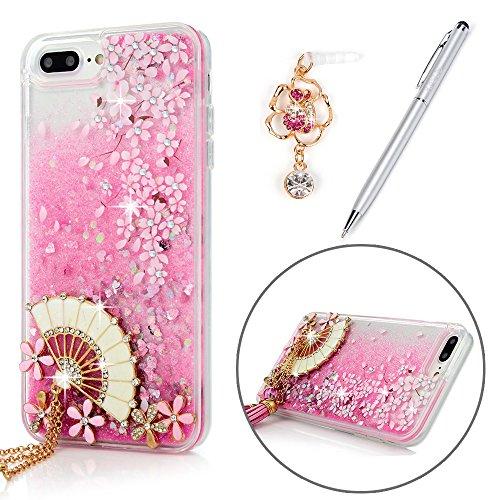 iPhone 8 Plus Case, iPhone 7 Plus Case, Cute Flowing Liquid Quicksand Case Shell Pink Cherry Blossom Flower Bling Diamonds Fan Tassel TPU Frame PC Back Cover & Dust Plug & Stylus KASOS - Fan