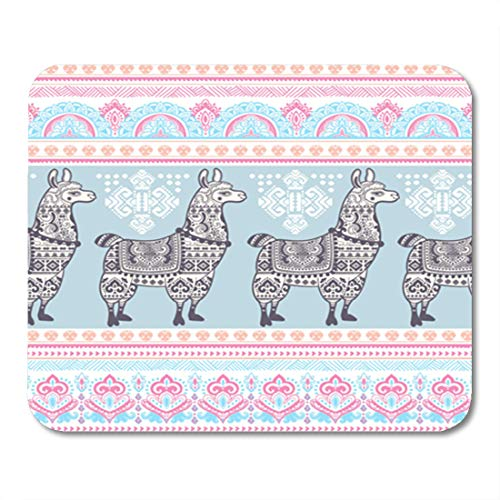 (Semtomn Gaming Mouse Pad Pattern Cute Alpaca Llama Animal Ethnic Ornaments Drawing Lama Wool 9.5