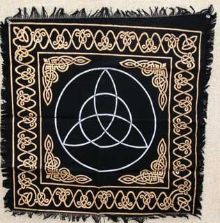 "New Age Imports, Inc. Altar Tarot Cloth: Triquetra - 24"" x 24"" (Gold/Silver on Black Triquetra/Charm Design) by"