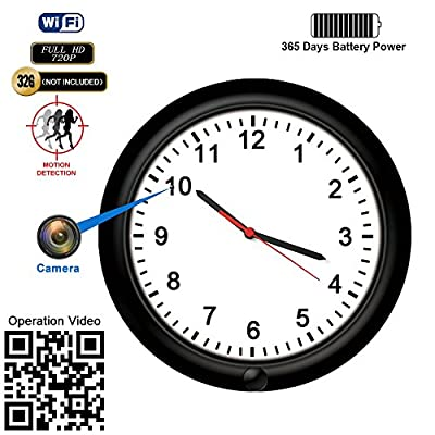Hidden Camera Motion Activated WiFi Surveillance Wall Clock with One Year Battery Power Standby 720P Camera Lens Adjustable Live View Remote Internet Access Security WiFi Camera for Home(Video Only!) from Fuvision