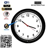 Hidden Camera Motion Activated WiFi Surveillance Wall Clock with One Year Battery Power Standby and 720P Camera Lens Adjustable Live View Remote Internet Access Security Hidden WiFi Camera for Home