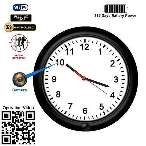 Powered Internet Remote (Hidden Camera Motion Activated WiFi Surveillance Wall Clock with One Year Battery Power Standby 720P Camera Lens Adjustable Live View Remote Internet Access Security WiFi Camera for Home(Video Only!))