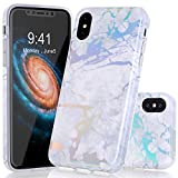 iPhone X Case, BAISRKE Laser Style Marble Design Colorful Lines Sparkling Shiny Flexible Glossy Soft Rubber TPU Case for iPhone X 5.8'' (2017) - White