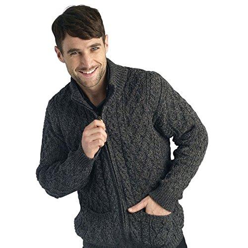 Merino Wool Zip Cardigan - 100% Merino Wool Aran Crafts Full Zip Men's Cardigan,LargeCharcoal