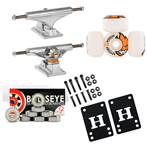 (INDEPENDENT 129mm Skateboard TRUCKS 50mm SPITFIRE Wheels, Bearings PACKAGE)