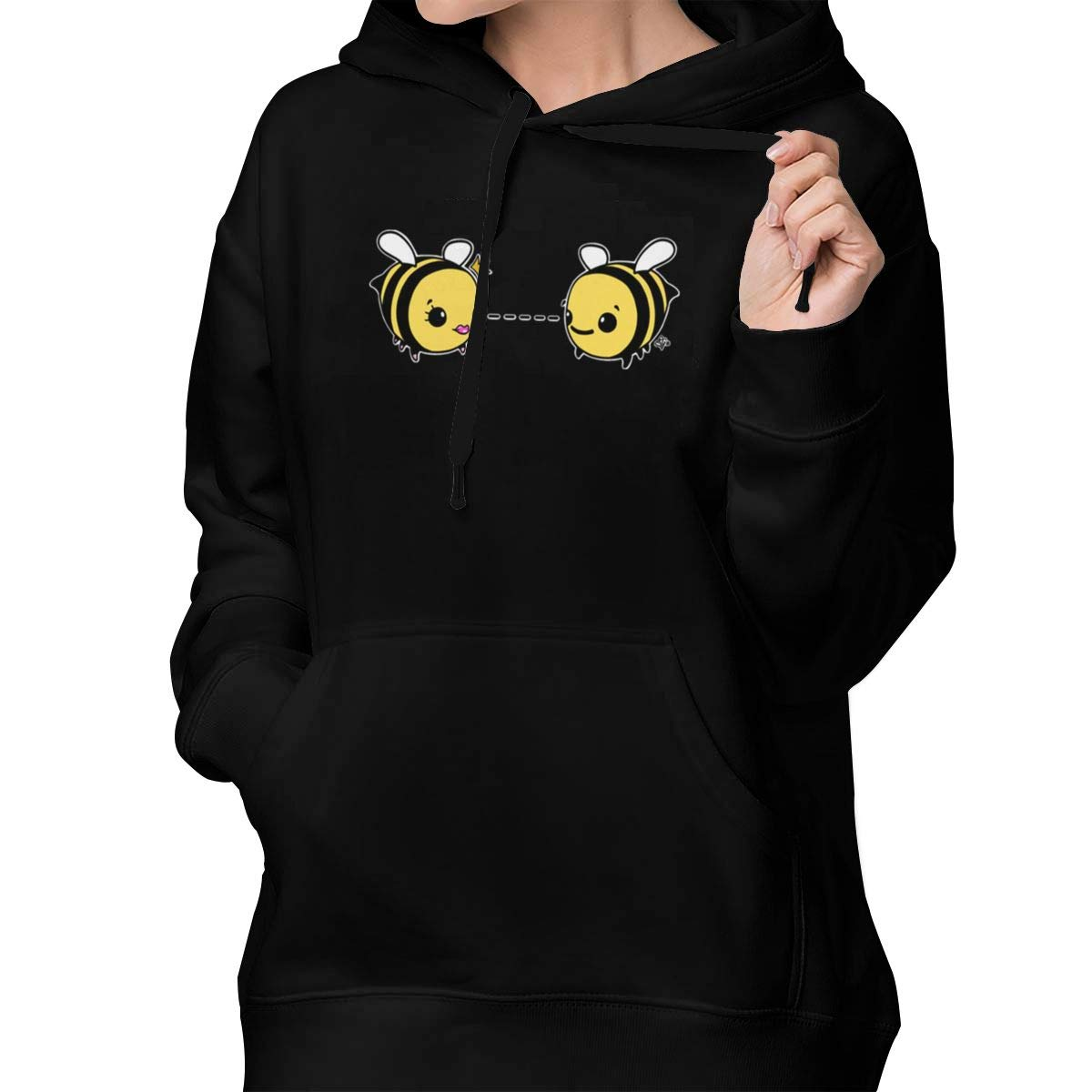 Lponvx Bee Loved Women Girl Basic Lightweight Hooded Blouse Pullover with Front Pocket