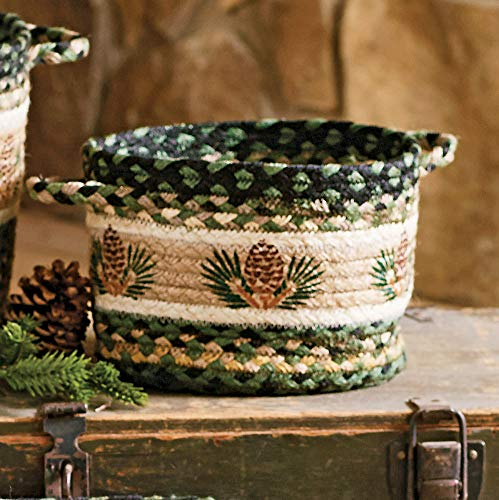 BLACK FOREST DECOR Pinecone Braided Utility Basket - Small
