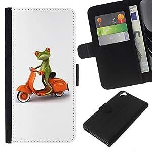 KLONGSHOP // Tirón de la caja Cartera de cuero con ranuras para tarjetas - Italia minimalista Rana Blanco Naranja - HTC Desire 820 //
