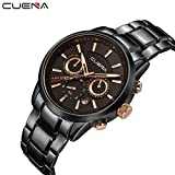 Mens Analog Quartz Wrist Watch Luxury Stainless Band Sports Fashion Watches with Chronograph Calendar, Black Dial Waterproof by Cuena (Black)