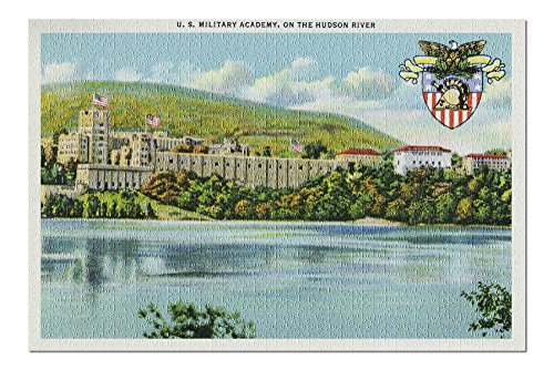 West Point, New York - Hudson River View of US Military Academy - Vintage Halftone (20x30 Premium 1000 Piece Jigsaw Puzzle, Made in USA!)