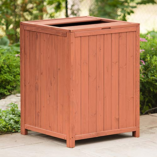 Leisure Season TR6565 Patio Trash Receptacle - Brown - Large Indoor Outdoor Wooden Rubbish Storage Bins for Porch, Yard, Patio - Garbage Can, Waste Basket and Recycling Container with Top Open Lid (Storage Outdoor Target)
