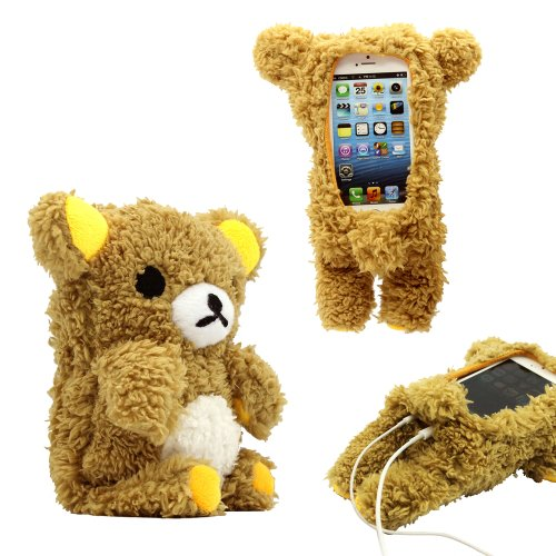 Price comparison product image GEARONIC TM New 2016 3D Cute Doll Toy Cool Plush Teddy Bear Cover Shockproof Dirt Dust Proof Case For Apple iPhone SE 4 4S 4G 5 5S 5C