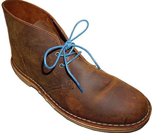 Shoeslulu 20-59 Premium Round Waxed Canvas Shoelaces Bootlaces Azure Blue O0h6DT