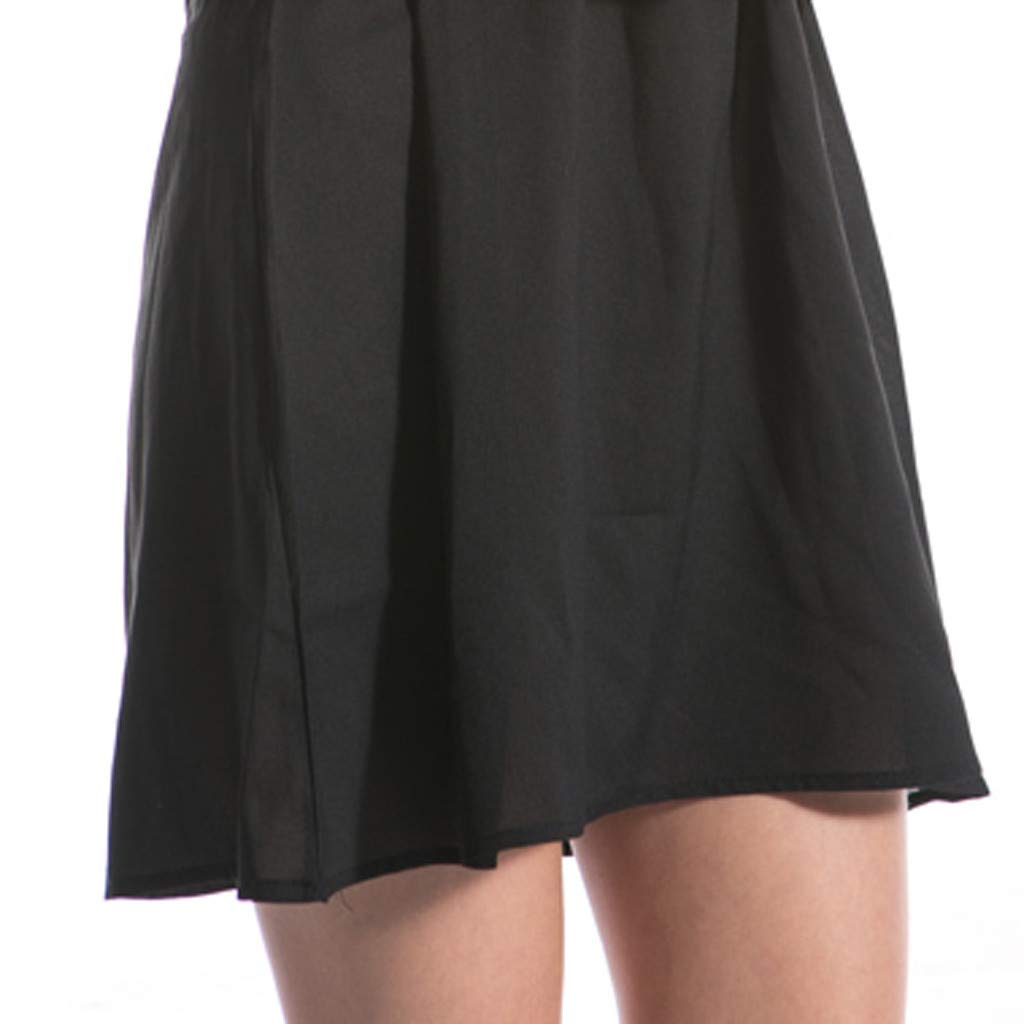 Clothful  Women Dress, Women Fashion Chiffon Solid V-Neck Long-Sleeved Shoulder Hollow 6XL Loose Dress Black by Clothful (Image #4)