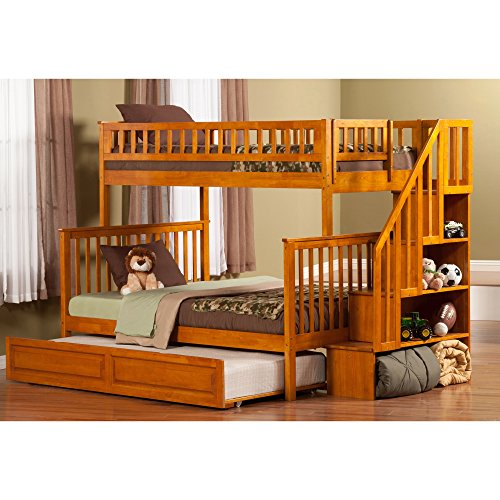 Atlantic Furniture Woodland Staircase Bunk Bed Twin over Full with Raised Panel Trundle Bed in Caramel Latte