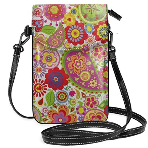 Crossbody Bag Poppy Paisley Flower Ladybug Messenger Bag Lightweight PU Leather Cell Phone Purses With Credit Card Slots