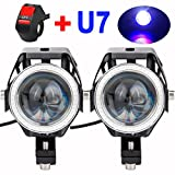 (US) Motorcycle Headlight U7 LED Fog Lights Spotlight DRL Daytime Driving Lights Strobe Lights with Blue Halo Ring and ON/OFF Toggle Switch 125W (pack of 2)