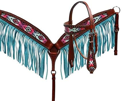 Showman Navajo Embroidered Headstall and Breast Collar Set TURQUOISE CONCHOS!