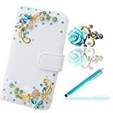 Vandot Samsung Galaxy S6 Edge Plus (S6 Edge+) White Wallet Card Slot Case,Designs with Bling Diamond Blue Butterfly,3 in 1 Set 3D Crystal Rhinstone PU leather Magnetic Closure Flip Stand Skin Protective Cover Shell+Blue Flower Anti Dust Plug+Stylus Screen Touch Pen
