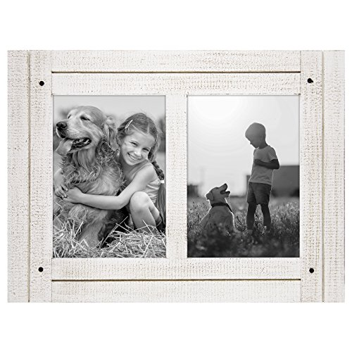 Americanflat 5x7 Aspen White Collage Distressed Wood Frame - Made to Display 2 5x7 Photos - Ready to Hang or Stand with Built-in Easel