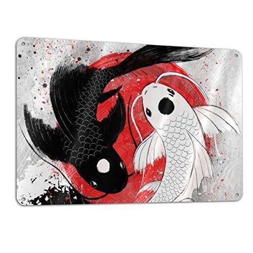Yuteea Koi Fish yin yang Aluminum Metal Sign Heavy Duty Funny Decoration Tin Signs