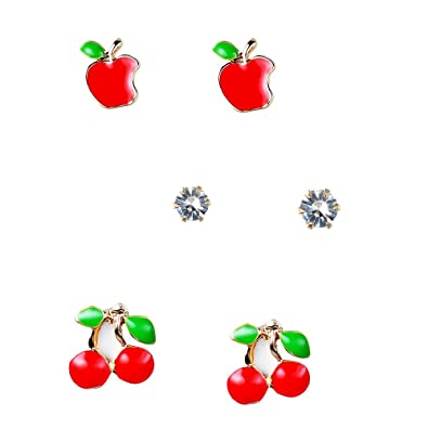 222398bbd Gold Tone Hand Painted Red Apple & Cherry Sparkly Crystal Stud Earrings Set,  by JADA