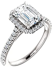 Natural, Not Enhanced Emerald Cut Halo and Pave Diamond Engagement Ring, H-color, VS2 Clarity - GIA Certified
