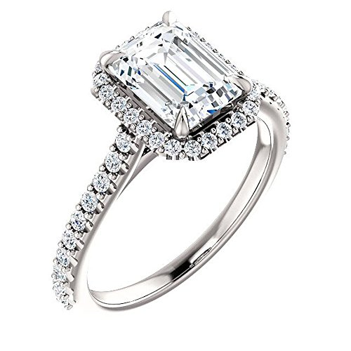 King of Jewelry Natural, Not Enhanced Emerald Cut Halo and Pave Diamond Engagement Ring, H-color, VS2 Clarity - GIA Certified (white-gold, 1.50) ()