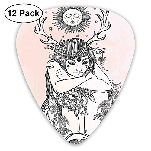 Guitar Picks - Abstract Art Colorful Designs,Image Of Naked Girl Under The Sun Sublime Fairy Of Nature Cosmos Nymph Figure Art,Unique Guitar Gift,For Bass Electric & Acoustic Guitars-12 Pack