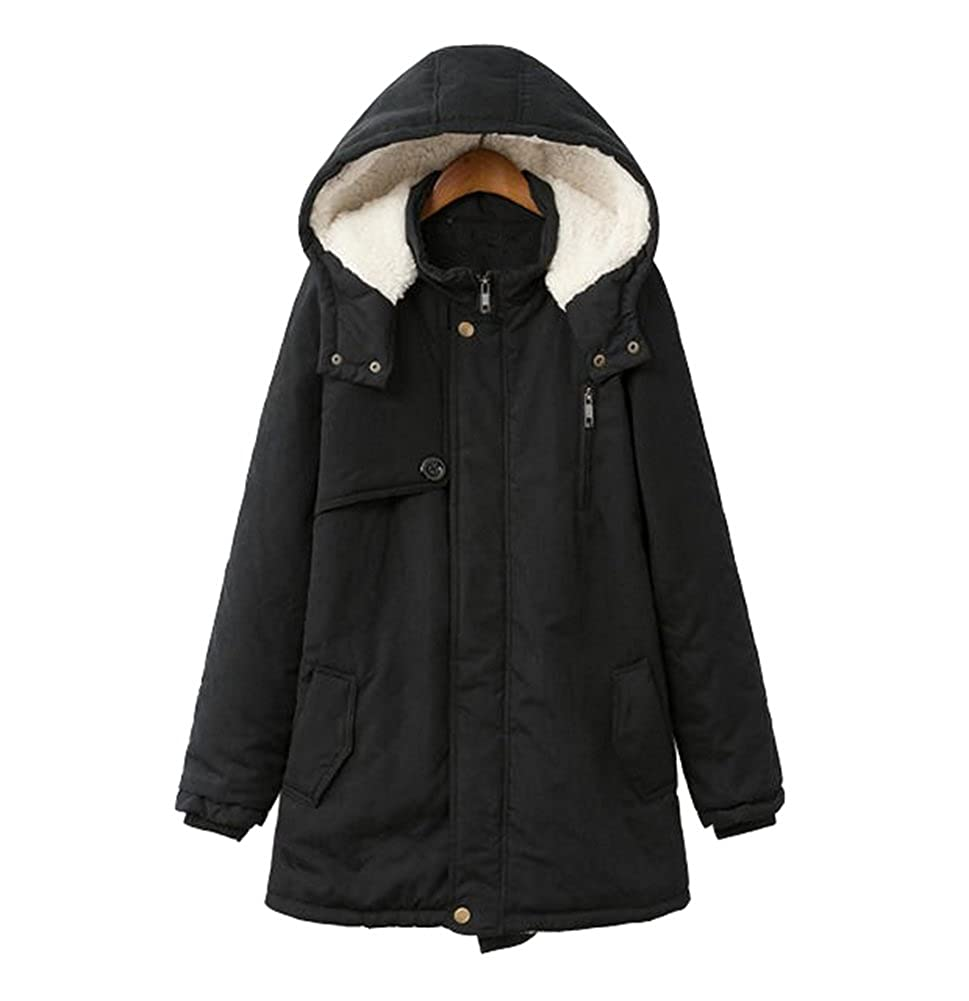 Vedem Women's Hooded Winter Fleece Lining Parka Coat Thicken Warm Jacket Coat